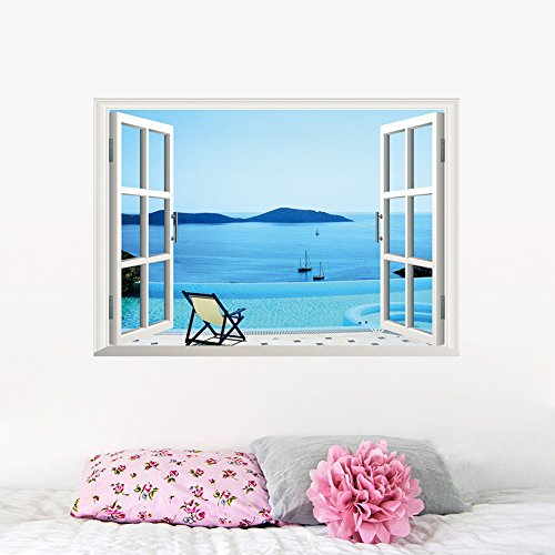 [ORDERIN Christmas Gift New Creative Wall Decal 3d False Window Originality of Blue Sky Ocean Background Removable Mural Wall Stickers for Home] (Animals That Start With The Letter M)