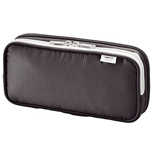 LIHIT LAB. Double Pen Case L size, Black, 4.1 x 8.7