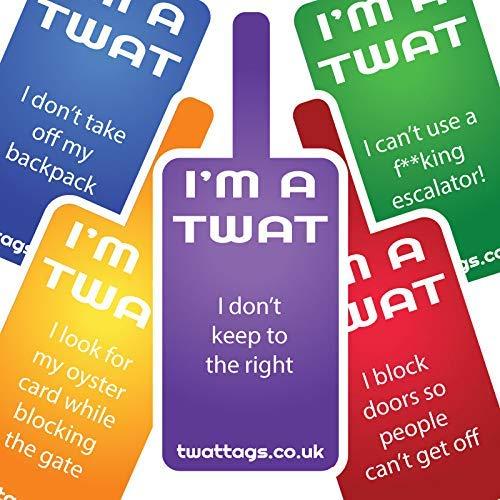 rude Work//birthday party funny joke surprise gift London Underground tube Transport pack TwatTag Stickers adult prank