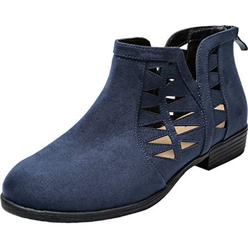 Aukusor Women's Wide Width Ankle Booties - No Heel Slip On Cozy Spring Boots.(180816blue 8XW