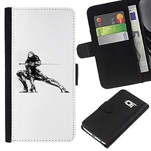 Leather Etui en cuir || Samsung Galaxy S6 EDGE || Samurai Mech Warrior @XPTECH