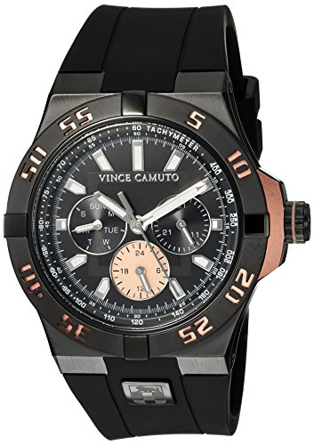 Vince Camuto Men's VC/1010RGBK The Master Multi-Function Dial Black Silicone Strap Watch