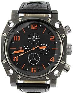 YouYouPifa Fashion Design Men's Leather Strap Sport Watch (Orange)