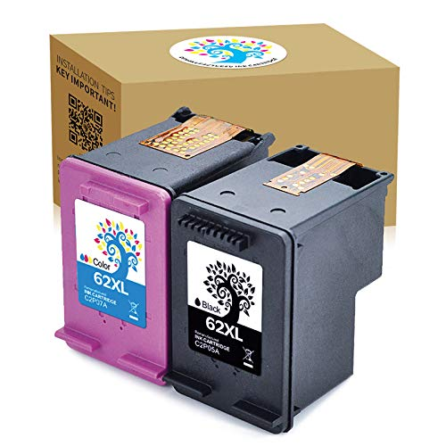 H&BO TOPMAE Remanufactured Ink Cartridge Replacement for HP 62XL use for HP Envy 7640 5660 5540 5640 5643 5642 5644 5646 7645 Officejet 5740 5743 5745 200 250 (1 Black +1 Tri-Color)