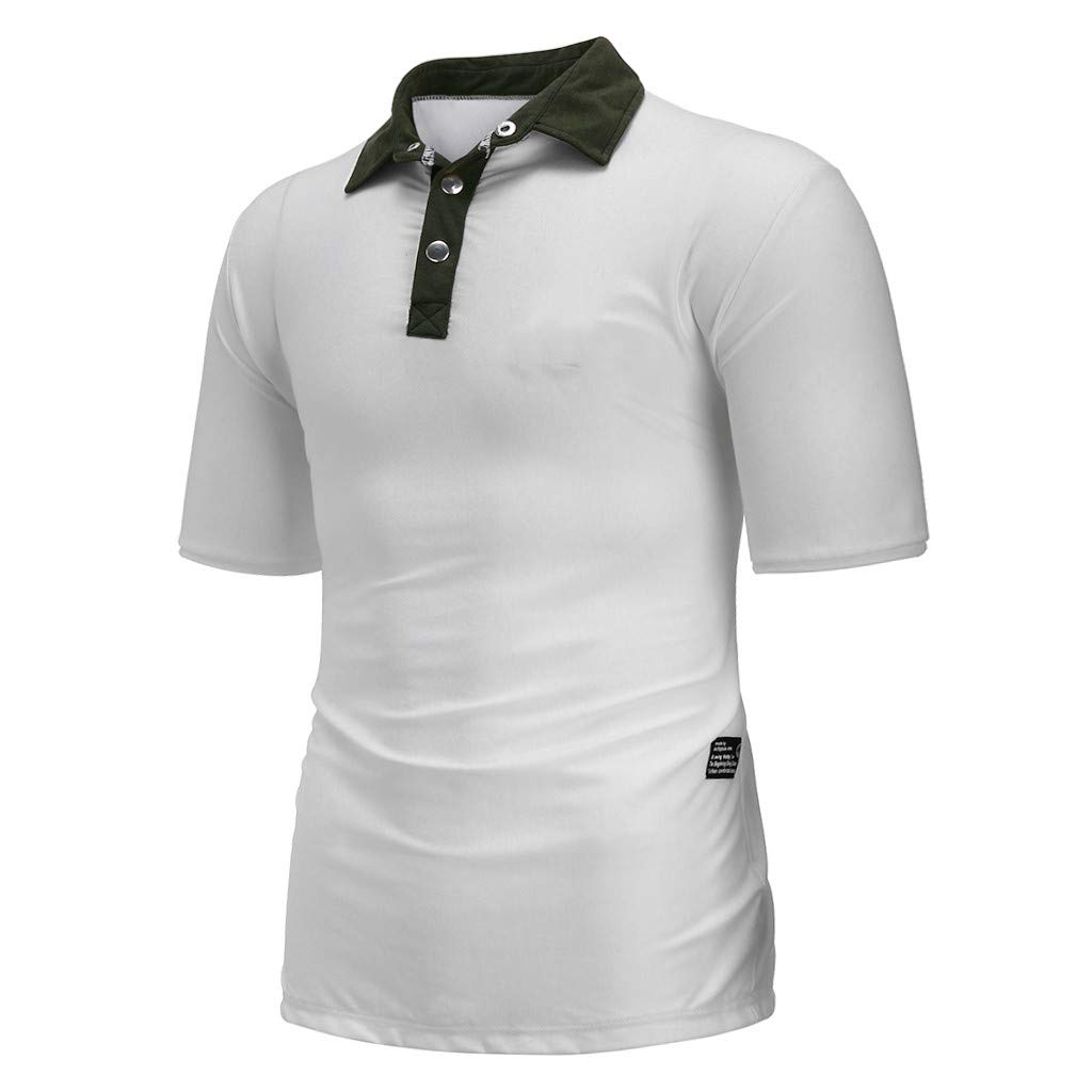 Mens Summer New Pure Color Short Sleeves Fashion Lapel Blouse Top