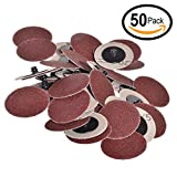Ram-Pro 2'' Inch Dia 120 Grit Professional Roll Lock Style Sanding, Grinding Disc (50-Count)