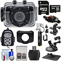 Vivitar DVR781HD HD Waterproof Action Video Camera Camcorder (Black) with 32GB Card + Suction Cup, Helmet, Bike Mounts + Backpack + Battery Grip Kit