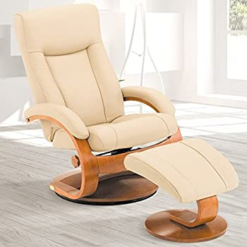 Mac Motion Oslo Collection Recliner With Matching Ottoman In Cobblestone  Top Grain Leather With Walnut Frame