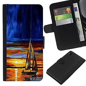 EJOY---La carpeta del tirón la caja de cuero de alta calidad de la PU Caso protector / Sony Xperia Z2 D6502 / --Velero Sunset