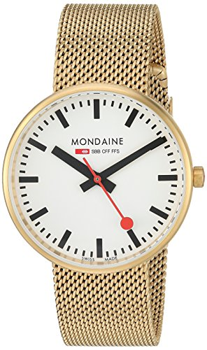 Mondaine SBB Quartz Watch with Gold-Plated-Stainless-Steel Strap, 18 (Model: A763.30362.21SBM)