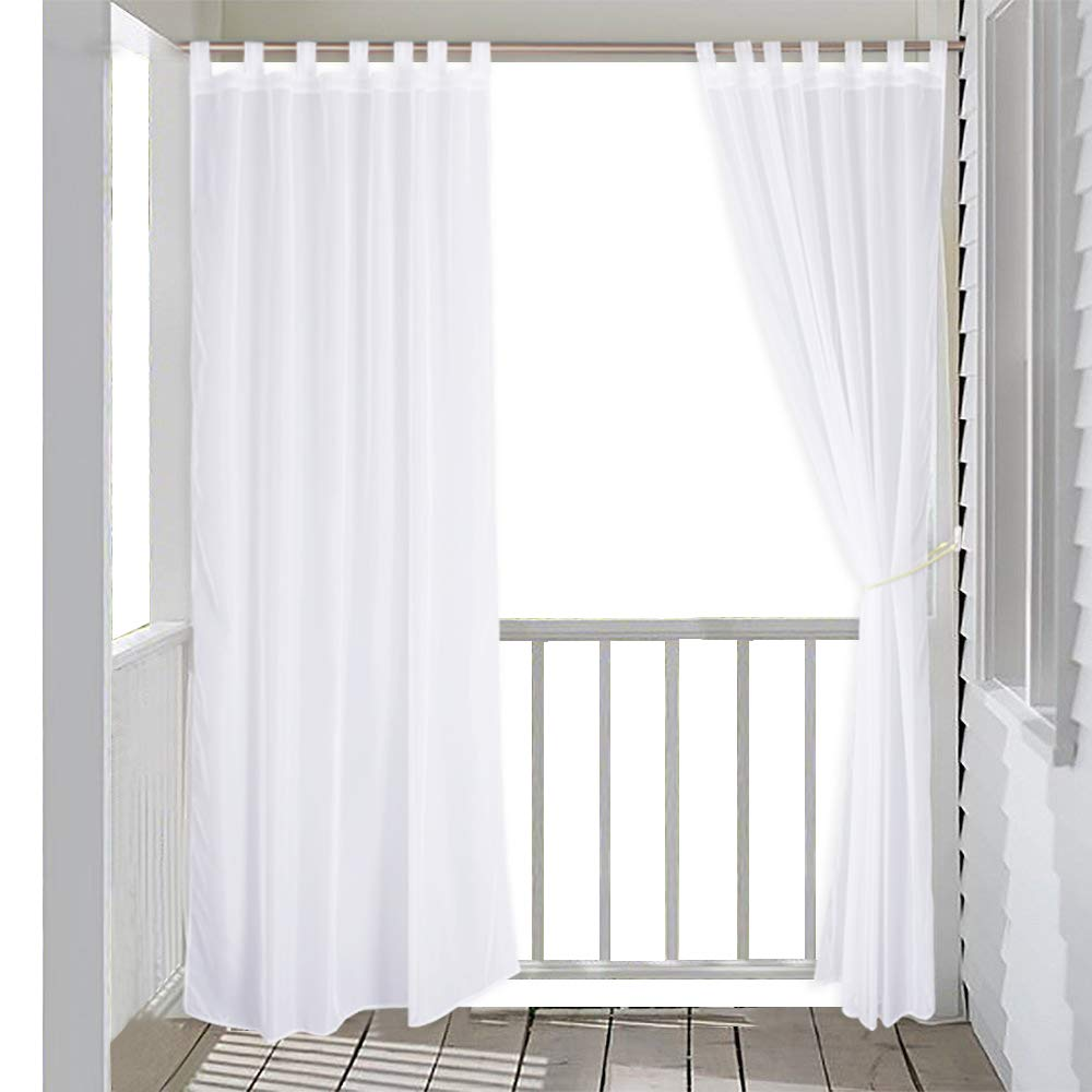 RYB HOME Outdoor Indoor Voile Drape Panels Mildew Resistant Water Repellent Polyester Silver Tab Top Sheer Curtains For Porch, White by RYB HOME