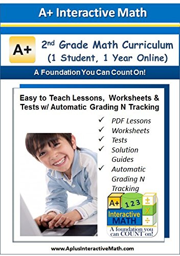 2nd, Second Grade Math Curriculum Online (1 yr) - Curriculum eBook, Worksheets & Tests, Auto Grading N Tracking, Homeschooling or Classroom PDF