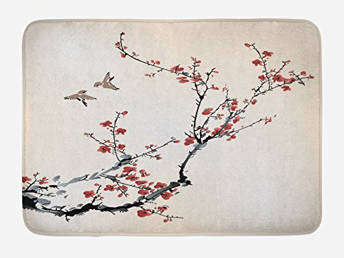 Ambesonne Nature Bath Mat, Cherry Branches Flowers Buds and Birds Style Artwork with Painting Effect, Plush Bathroom Decor Mat with Non Slip Backing, 29.5