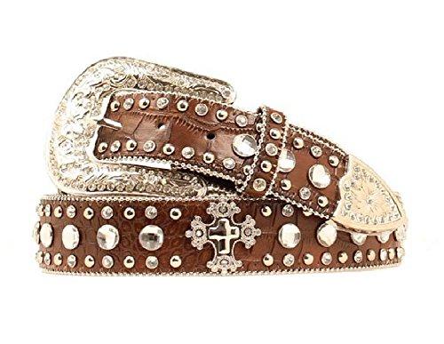 Blazin Roxx Women's Crystal And Cross Concho Croc Print Leather Belt Brown Small