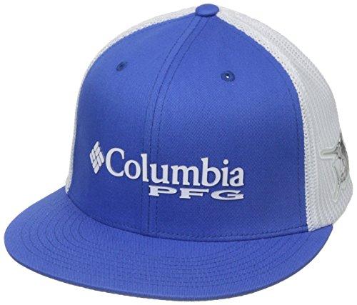 Columbia PFG Mesh Flat Brim Ball Cap, Vivid Blue/Marlin, Large/X-Large