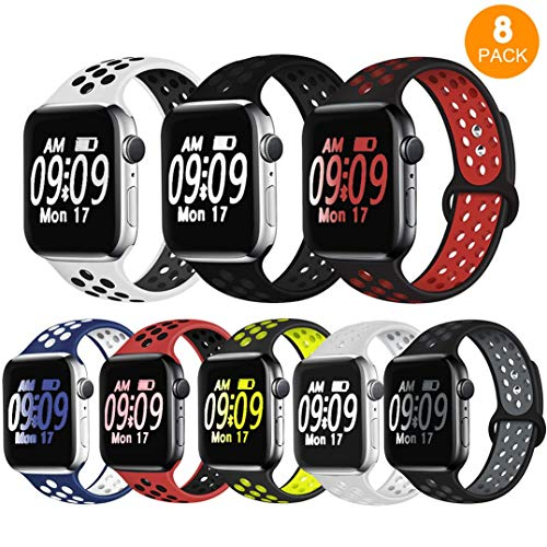 DOBSTFY Sport Band Compatible with iWatch 38 40 42 44mm,Soft Silicone Sports Band Replacement Wristband Strap Compatible for iWatch Series 5/4/3/2/1, Men/Women, 38 40mm S/M, 8 Pack
