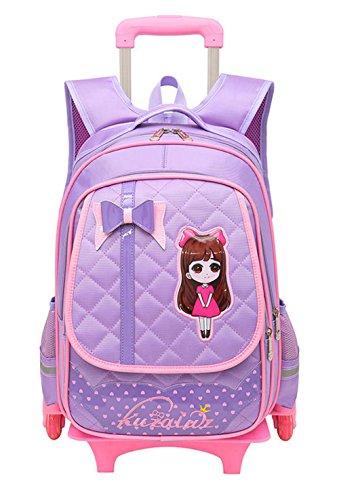 Fanci Cute Bowknot Waterproof Rolling School Bag Backpack on Wheels Princess Style Trolley Wheeled Backpack Carry on Luggage Two Wheels