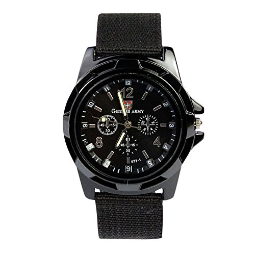 - Fashion Army Racing Force Military Sport Mens Fabric Band Watch,Outsta Gift Watches Round Case Wristwatches (Black)