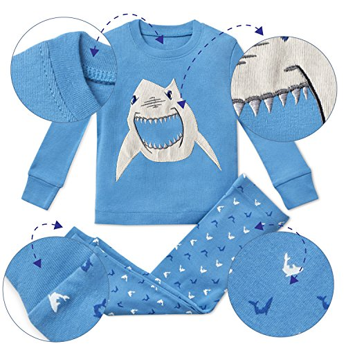 Boys Pajamas Shark 2 Piece 100% Super Soft Cotton (12m-8y) by Bluenido (Image #1)
