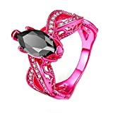Orangelove 18K Gold Plated Pink Color Ring Marquis Black Cubic Zirconia Wedding Engagement Ring for Women (Pink, 5)