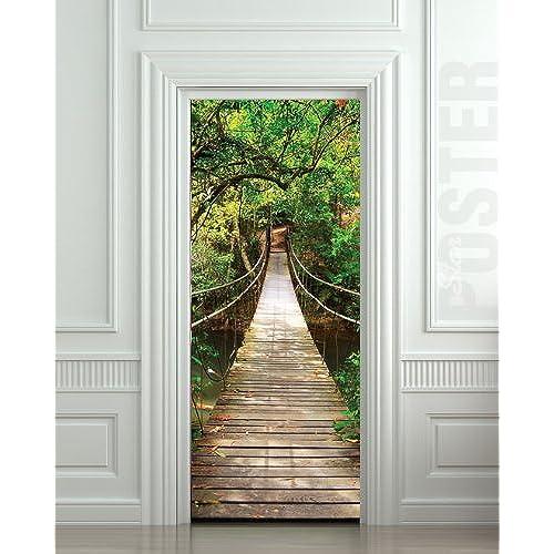 GIANT Door STICKER rope bridge tropic forest  mural decole film 30x79\  (77x200 Cm)  sc 1 st  Amazon.com & Door Posters: Amazon.com