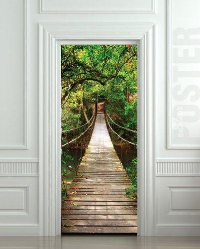 GIANT Door STICKER rope bridge tropic forest, mural, decole, film 30x79