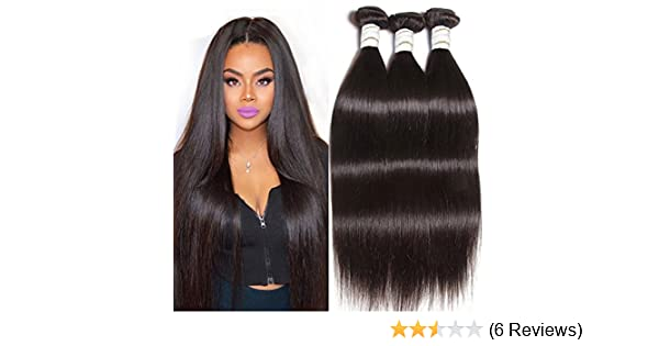 47bf9eabf23 Wendy Queen 100% Remy Unprocessed Peruvian Virgin Straight Hair 6 Bundles  with Top Closure Remy Silky Straight Hair Weave Natural Color (18 20 ...
