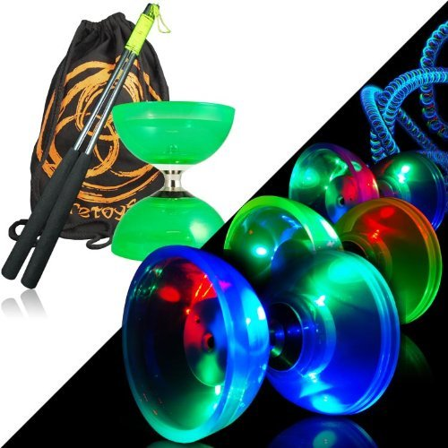 Green Juggle Dream Cyclone Quartz 2 Glow Diabolo Set w/ Metal Diablo Sticks, LED Kit & Bag