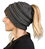 Funky Junque BeanieTail Womens Ponytail Knit Beanie Hat - Grey (Small Image)