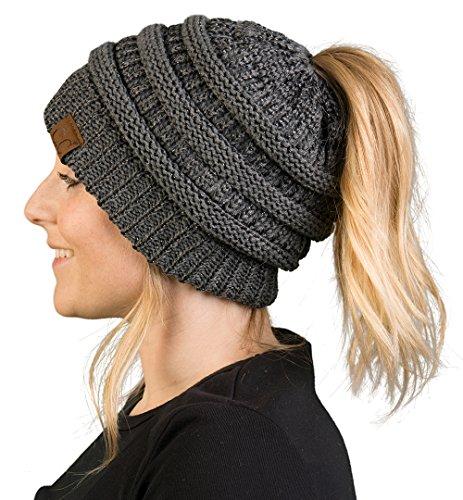 BT-6020a-9021 Messy Bun Womens Winter Knit Hat Beanie Tail - Grey (Metallic)