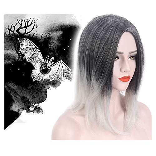 Halloween Wig Middle Part Bob Two Tone Ombre Black Silver Gray Mid Length Long Straight Synthetic Hair for Women Cosplay Party