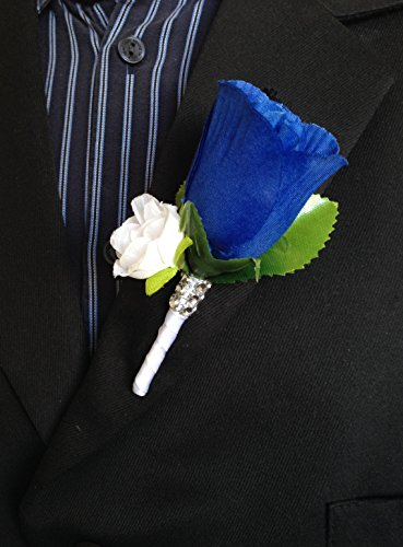 - Boutonniere - Royal Blue Rosebud with Mini White Flower and White Stem
