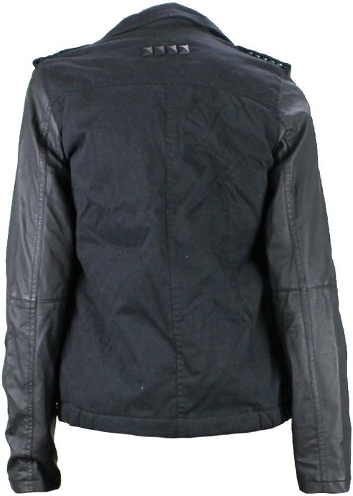 Celebrity Pink Faux Leather Sleeve Twill Jacket
