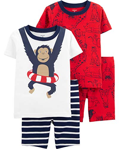 Carter's Toddler Boy's 4 Pc Monkey Pajama Cotton Set PJs - Pajamas Boys Size 4 Set