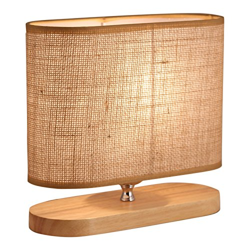 Light Accents Table Lamp Natural Wooden Base With Linen