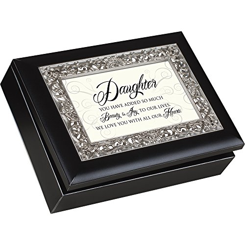 Daughter You Have Added so Much Beauty & Joy, Matte Black with Ornate Silver Inlay, Jewelry Music Box - Plays You Are My Sunshine ()