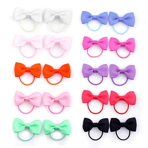 Belle Beau Baby Girls Bow Elastic Ties,Ponytail Holders,Hair Bands,Hair Elastics,Value Set (B) ()