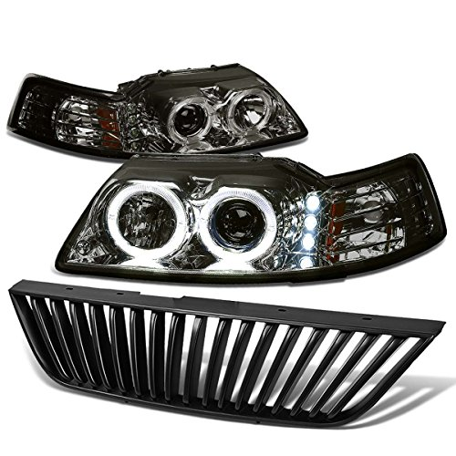 (For Ford Mustang SN-95 Dual Halo Projector+LED Headlight (Smoke Lens Amber Reflector)+Front Grille (Black))