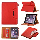 Ostop Compatible with iPad Pro 9.7 (2016)/iPad 9.7 (2017/2018) Case,Premium PU Leather Stand Folio Case Slim Wallet Business Tablet Cover with Auto Sleep/Awake Pencil Holder,Matte Red