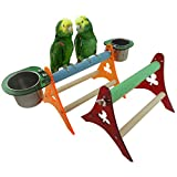 Yueunishi Parrot Acrylic Stands, Parrot Cage Stands, Bird Stands, Bird Table Stands, Bird Squirrel Cage Stands with Stainless Steel Food Bowl Containers 2 Sizes (S)