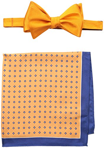 Tommy Hilfiger Men's solid and Micro Neat Self-Tie Bow Tie and Pocket Square Set, Orange, One Size (Tommy Hilfiger Bow Tie And Pocket Square Set)