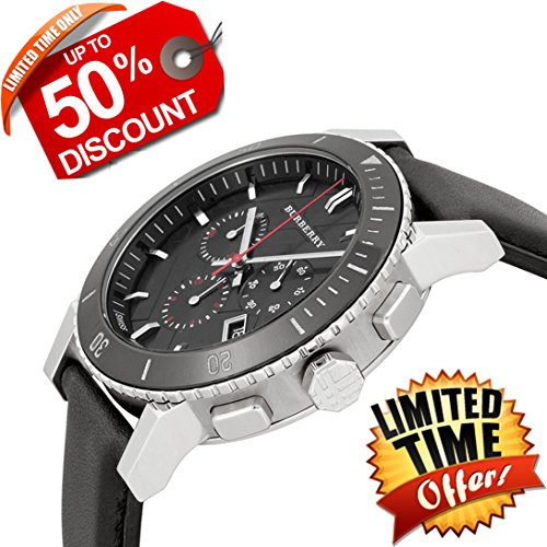 Burberry The City SWISS LUXURY Round Stainless Steel CERAMIC Chronograph Black Leather Band 42mm Black Date Dial Men Unisex Women Watch BU9382