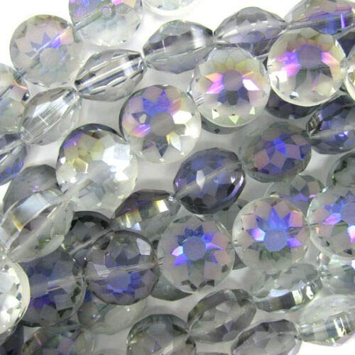 buyallstore 14mm Faceted Frost Crystal Coin Beads 8