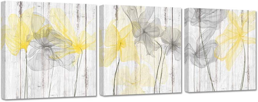 Zlove 3 Pieces Bathroom Picture Wall Decor Yellow Gray Bath Flower on Rustic Wood Background Stretched and Framed for Shower Room Bedroom Living Room Ready to Hang 12x12inchx3pcs
