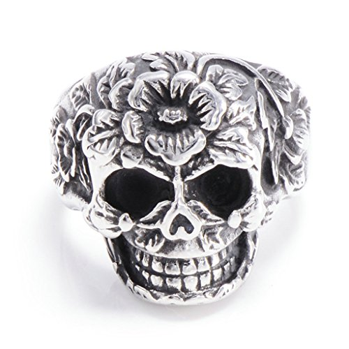 Middle Finger Costume Ebay (Men's 316L Stainless Steel Skull Gothic Flowers Ring Silver Size 10)