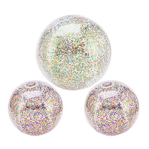3 Pack Glitter Inflatable Beach Balls Outdoor Swimming Pool Confetti Float Sparkling Balls Water Toys for Kids Adults Summer Parties