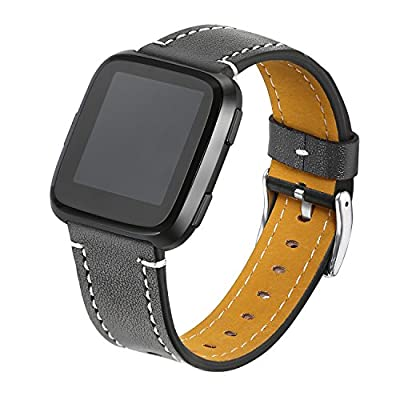 bayite For Fitbit Versa Bands, Classic Genuine Leather Wristband Replacement Accessories Fitness Strap for Versa Women Men, 9 Colors
