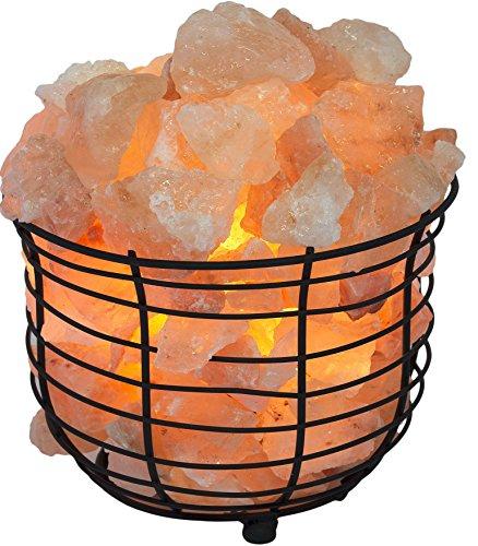Himalayan Basket Salt Lamp, Natural Glow Himalayan Crystals, Bulb & Dimmer Control, Purifies Air, UL Approved, By Tiabo ()