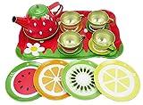 SmartPick Tin Tea Party Set for Kids - Metal Teapot and Cups Kitchen Playset
