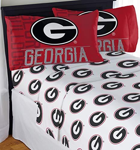 "Northwest NCAA Georgia Bulldogs ""Affiliation"" Queen Sheet Set #842799502"